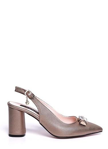 Kuum Kalın Topuklu Sivri Burun Ayakkabı Altın